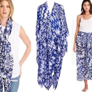 {Michael Stars} Patterned Ruana Wrap Scarf Sarong